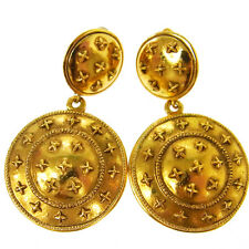 "Authentic CHANEL Vintage CC Logos Gold-Tone Earrings Clip-On 1.3 - 2.2 "" V04078"
