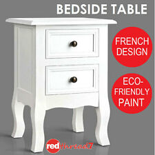 Bedside Table 2 Drawer Cabinet Storage Chest White Painted Wood Small French New