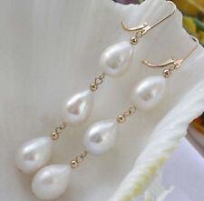 Fashion Handmade 6-7MM Genuine White Cultured Freshwater Pearl Dangle Earrings