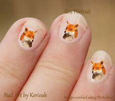 Fox Portrait  24 Unique Designer Nail Art Stickers, wildlife by Kerioak