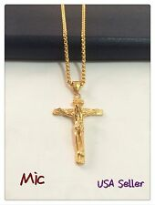 "Jesus Stainless Steel Gold 3mm Wheat Braided Chain Cross Pendant 24"" Necklace"