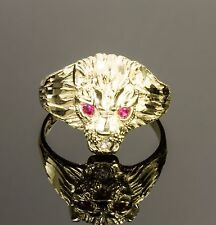 MEN'S NEW 10K  REAL YELLOW GOLD LION HEAD RING WITH RED STONE EYES