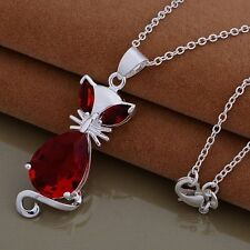 FREE P&P Fine WOMEN Jewelry SOLID 925SILVER Charm The Red owl Necklace pendant