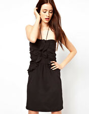 By Zoe Silk Ruffle Bandeau Dress with Halter String Tie Black Size 3 UK 12/EU 40