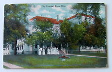 1910 POSTCARD NURSES STANDING IN FRONT OF THE CITY HOSPITAL LIMA OHIO