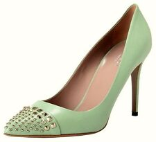 Gucci Schuhe Pumps STUDDED PLANTATION LEATHER SILVER METAL green Gr.38