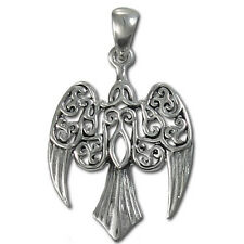 Celtic Morrigan Raven Crow Wicca Pagan Silver Pendant Dryad Design #TP3027