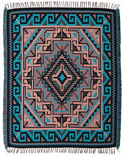 Fine Woven Blanket Native American Southwest Reversible Accent Throw Teal 4'x5'