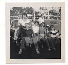 Vintage Photo Pretty Young Women & Men Amusement Park Parking Lot Group 1950's