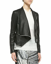 NWT $1,125 HELMUT LANG Black Paper Leather Draped Crop Jacket - S Small (2-4)