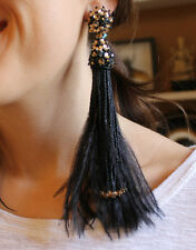Oscar de la Renta SGNED HAUTE COUTURE Black Bead & Feather Tassel Earrings