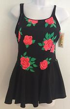 Women's Monte Carlo Size 14 Skirted One-Piece Bathing Suit Rose Pattern NWT