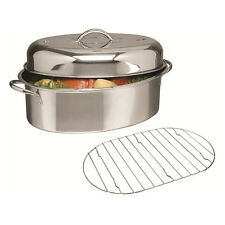 Alpine Cuisine 3 pc Stainless Steel Oval Roaster Roasting Pan Turkey Chicken