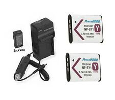 2X NP-BY1 Batteries + Charger for Sony HDR-AZ1 HDR-AZ1/W HDR-AZ1VR/W Action Cam