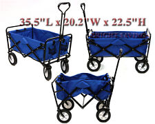 New Folding Blue Garden Wagon Collapsible Utility Sports Cart Mac FREE SHIP