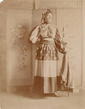 LADY WEARING AMERICAN FLAG DRESS ~ HOLDING AMERICAN FLAG ~ C - 1885