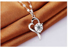 New Fashion Jewelry Womens 925 Sterling Silver Heart Crystal Necklace Pendant