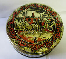 VINTAGE RUM FRUIT CAKE HORSE WAGON SCENE BISCUIT TIN HOME DECOR