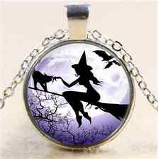 Witch In Moon Fly Cabochon Glass Tibet Silver Chain Pendant Necklace#CJ11
