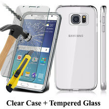 Samsung Galaxy S7 Ultra Thin Clear Gel Silicone Case + Tempered Glass Protector