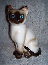 "Siamese Cat Figurine Enesco Korea 7"" Blue Eyes Excellent Condition"