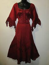 Dress XL 1X 2X Plus Renaissance Dark Red Corset Lace Up Chest and Hem NWT 522