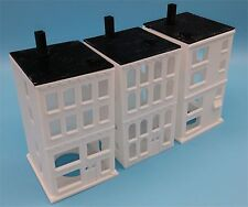 3 N Scale American 4 Story Apartment Buildings, Plastic Kit - MADE IN USA