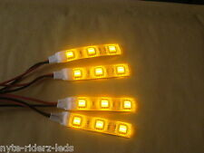 YELLOW 5050 SMD LED 4 STRIPS 3 LED EACH  FITS CARS MOTORCYCLES TRUCKS SUVS BOATS