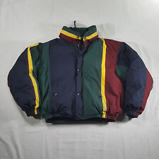 Nautica Full Zip Hooded Reversible Down Coat XL SPELL OUT VTG 90s multi-color