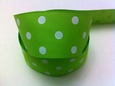 "1.5"" Apple Green Polka Dots White 5 yards Gros Ribbon-Printed-Fabric-Craft-Fall"