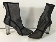 Boohoo Lola Black Mesh Sock Clear Round Heel Ankle Boots Women's SZ 6