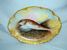 ANTIQUE BAVARIA HAND PAINTED DETAILED w/ ( 2 ) FISH - LARGE PLATTER GERMANY