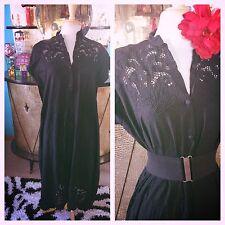 Vintage 1940s style Dress Black Lacy CutOut XL 2XL Plus Swing Rockabilly 40s TLC