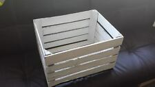 WHITE PAINTED EUROPEAN VINTAGE WOODEN FRENCH APPLE CRATE BUSHEL BOX SHABBY CHIC