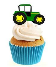 Novelty Green Tractor 12 Edible Stand Up wafer paper cake toppers birthday