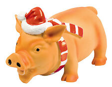 Good boy Small Xmas Latex Piglet pig Dog Toy Grunting Animal Christmas Dolittle
