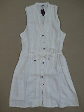 Figleaves Women's Linen Belted Pintuck Dress White Size 14 NWT