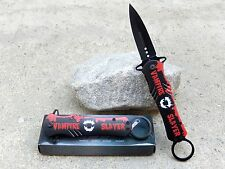 "9"" Black Red Vampire Slayer Stiletto Blade Spring Assisted Pocket Knife Key Ring"