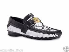 New Versace Woven Black and White Leather Driver Shoe 41.5 - 8.5