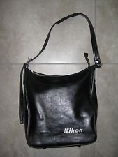 "Vintage NIKON Black ""Leather"" Camera Purse Travel Lens Bag USED Made in Japan"
