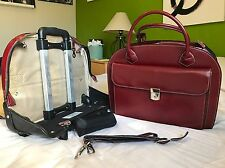 Womans McKlein US Red Leather Ellyn Briefcase Rolling Laptop Bag