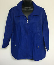 ZENERGY CHICOS Cobalt Blue Full Zip Spring Jacket Lightweight 3/4 Sleeve 3 L XL