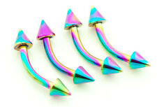 "4 Pc 16g 5/16"" rainbow titanium anodized on surgical steel spike eyebrow rings"