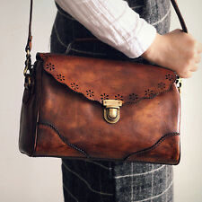 Handmade Womens Vintage Handbag Genuine Leather Shoulder Bag Fashion Doctor Bags