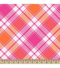 pink orange white plaid baby toddler 36x30  fleece fabric blanket personalized