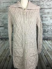 NWT Aran Mor Ireland Merino Wool Beige Long Tunic Cardigan Sweater Size S