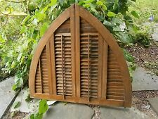 Original 1800's Cathedral Top Wooden Louvered Window Shutter