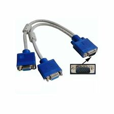 1 PC a 2 VGA SVGA Monitor Video y cable de 15 Pines Dual plomo Spliter Adaptador para PC