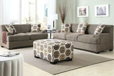 Living Room 3pc Sectional Set Sofa Couch Loveseat w Ottoman Slate Blended Linen