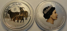 2015 Australian Lunar 1oz .999 silver Year of Goat COLORED! & GILDED! RARE!!!